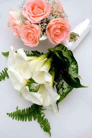 Brides Wedding Flower Bouquet with Pink Roses