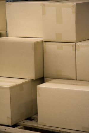 on the skids: Stack of Blank Boxes in a Warehouse