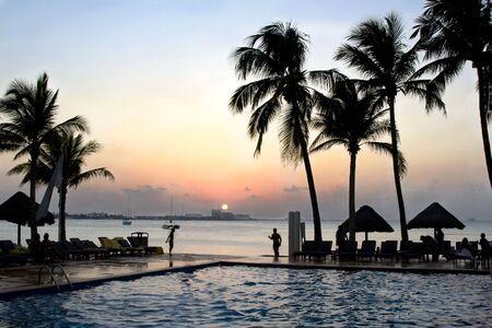 Cancun Mexico Sunset at a Beach Resort