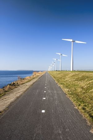 Two Bladed Windmill Farm in the Netherlands 스톡 콘텐츠