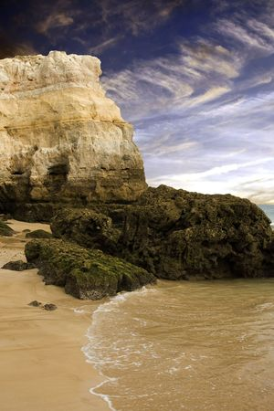 Rocky Coastal Beach in Algarve Portugal 版權商用圖片