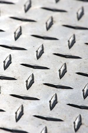 Close-up of Diamond Plate Steel Stock Photo