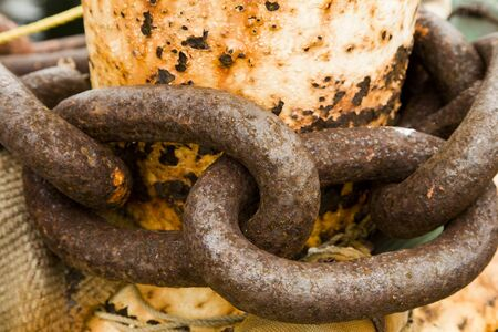 Secure Rusty Chains on a Ship Dock Stock Photo - 4153071