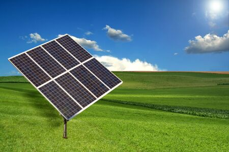 panel: Solar Panel Sun Tracking System in a Meadow