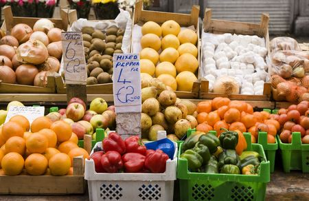 Europese Assorted Fruit en groente stand