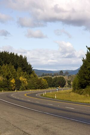 Car on Rural Highway in New Zealand Stock Photo - 4865847