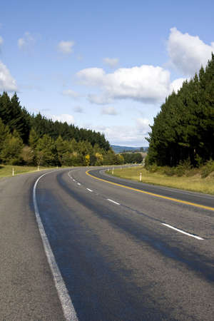 Highway in Rural Area with Forest and Sky Stock Photo - 4885000