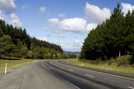 Car on Rural Highway in New Zealand Stock Photo - 4884997