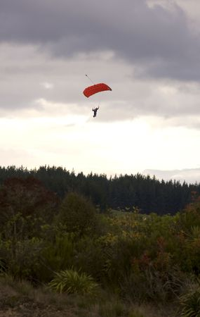 Paraglider Decending onto Ground