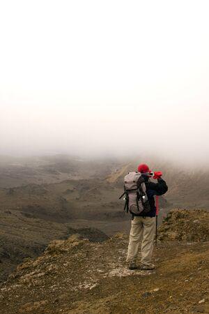 tongariro national park: Hiker in Tongariro National Park - New Zealand