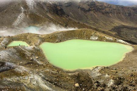 Emerald Lakes in Tongariro National Park - New Zealand Stock Photo