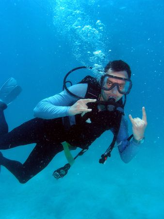Man Scuba Diving in Great Barrier Reef Stock Photo - 4949226