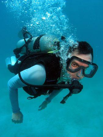 picada: Hombre Buceo en la Gran Barrera de Coral