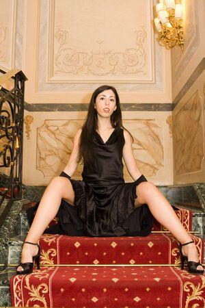 Attractive Elegant Woman Posing on Steps