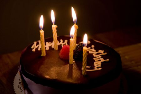 happy birthday candles: Happy Birthday Cake with Burning Candles