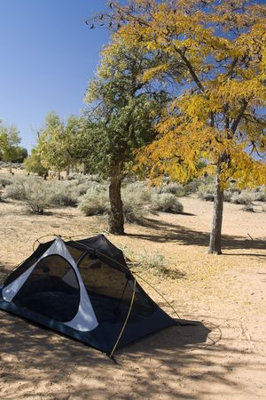 Campsite with Tent in the Utah Desert Фото со стока