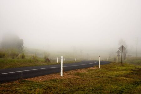 Early Morning Fog on Rural Road Stock Photo - 5415546