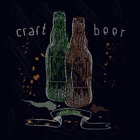 Grunge textured bottles on dark background.