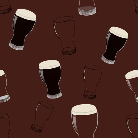 Full and empty beer glasses on brown background.