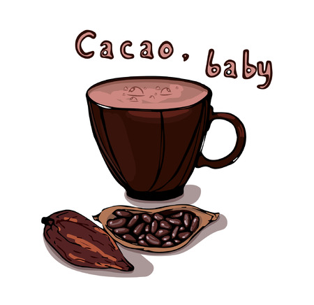 Cacao, baby lettering. Hot drink illustration.