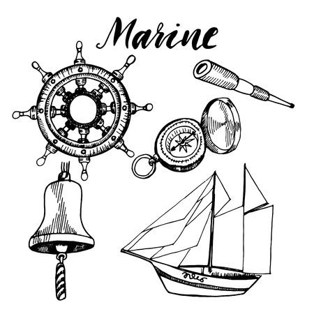 ship anchor: Ship captain accessories hand drawn sketch. Illustration