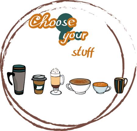 Coffee stain vector illustration. Caffeine addiction poster. Illustration