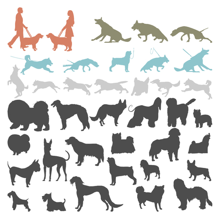 Set of dog silhouettes doing different activities. Dog jumping, running, barking.