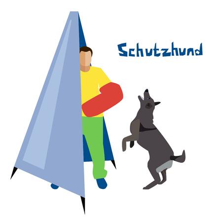 Working dog training vector illustration. Illustration