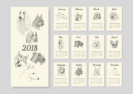 Calendar with dog breed sketches for year 2018.