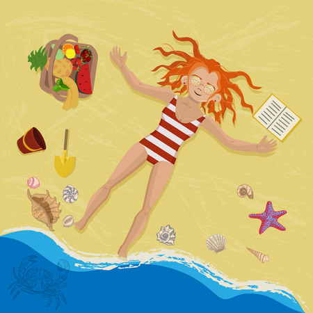 Redhead woman resting on a beach. Illustration