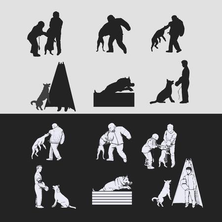 Schutzhund silhouetten vector illustratie.