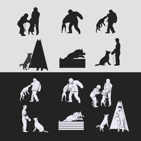Schutzhund silhouettes vector illustration.