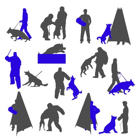 Hondentrainer met bijtmouw. Springende hond. Trainer achter de mini-blind.