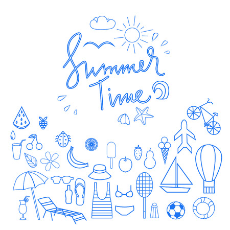 Outline icons of on summer season topic.