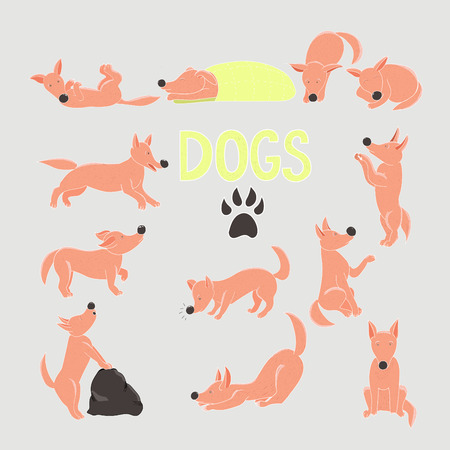 Collection of color cartoon dog in different positions.