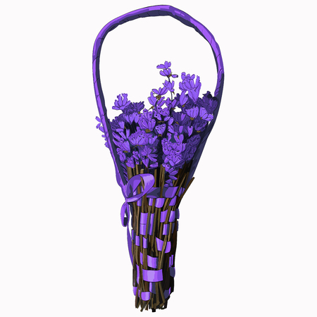 Flower basket vector illustration. Illustration