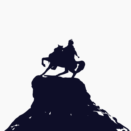Bohdan Khmelnytsky statue isolated on white background. Illustration