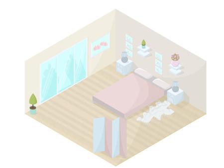boudoir: Interior design of bedroom.