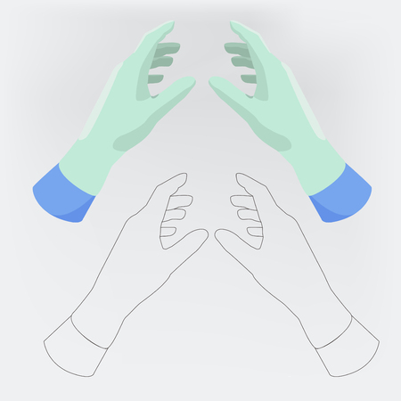 Outline and flat style hands of medic.