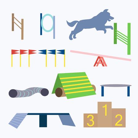 Dog agility equipment vector illustration. Agility dog isolated on white background. Jumping obstacles illustration. Illustration