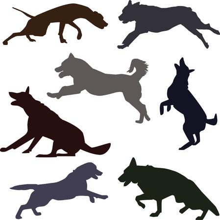 さまざまな活動を行う犬シルエットのセット。ジャンプ、実行、吠える犬。  イラスト・ベクター素材