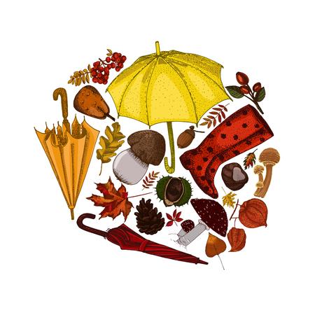 cep: Fall concept hand drawn illustration.