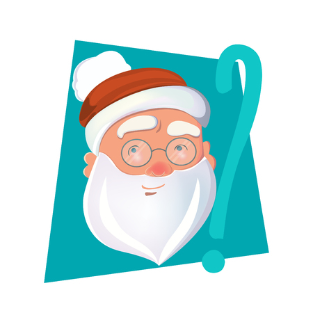 Santa head and question mark for your design. Illustration