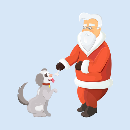 Santa with pawing dog isolated. Santa gives a bone to his pet. Dog as a symbol of New Year 2018.