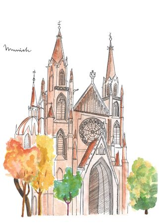 Hand painted church in Munich. Watercolor cathedral sketch on white background. Stock Photo