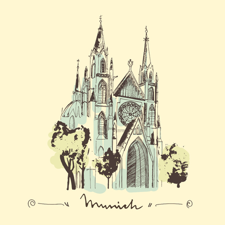 Sketch of St. Paul church in Munich. Gothic cathedral as a landmark of Munich.