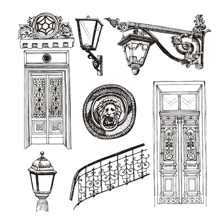 Forged railings and lanterns in vintage style vector illustration.