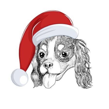 Santa dog portrait isolated on white background. Illustration