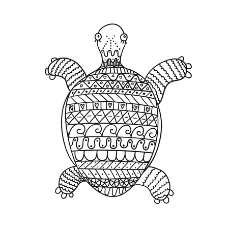 Freehand ornamental turtle for children coloring book.