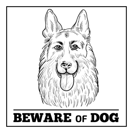 Watchdog face hand drawn sketch isolated on white background. Illustration